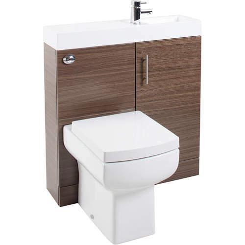 Italia Furniture Cube Plus Pack With Walnut Vanity, BTW Unit & Basin (RH).