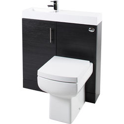 Italia Furniture Cube Plus Pack With Black Ash Vanity, BTW Unit & Basin (LH).