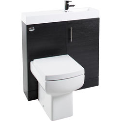 Italia Furniture Cube Plus Pack With Black Ash Vanity, BTW Unit & Basin (RH).
