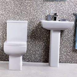 Oxford Daisy Lou Suite With Flush To Wall Toilet, Seat, Basin & Full Pedestal.