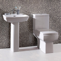 Oxford Daisy Lou Suite With Comfort Height Toilet, Seat, Basin & Full Pedestal.