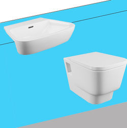 Oxford Dearne Bathroom Suite With Wall Hung Pan & Semi Recessed Basin.