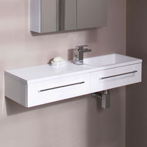 Italia Furniture 1000mm Vanity Unit With Drawer & Basin (Gloss White).