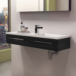 Italia Furniture 1000mm Vanity Unit With Drawer & Basin (Black Ash).
