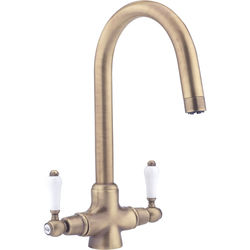 Hydra Evie Pro Kitchen Tap With Twin Lever Controls (Antique Brass).
