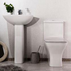 Oxford Fair Bathroom Suite With Toilet, Slimline Seat, Basin & Pedestal.