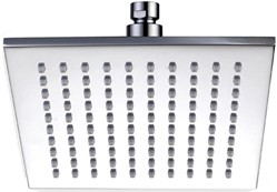 Hydra Showers Square Shower Head With Swivel Knuckle (200mm, Chrome).