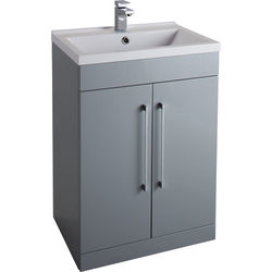 Italia Furniture 600mm Vanity Unit With White Basin (Grey).