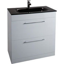 Italia Furniture 800mm Vanity Unit With Drawers & Black Basin (Gloss White).