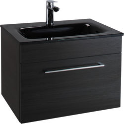 Italia Furniture 600mm Vanity Unit With Drawer & Black Glass Basin (Black).