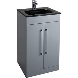 Italia Furniture 500mm Vanity Unit With Black Glass Basin (Grey).