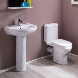 Oxford Ivo Bathroom Suite With Toilet, Cistern, Seat, Basin & Full Pedestal.