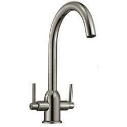 Hydra Ruby Kitchen Tap With Twin Lever Controls (Brushed Steel).