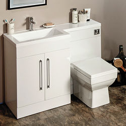 Italia Furniture L Shaped Vanity Pack With BTW Unit & Basin (LH, Gloss White).