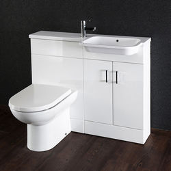 Italia Furniture Ria Combi Pack With Vanity, BTW Unit & Basin (RH, Gloss White).