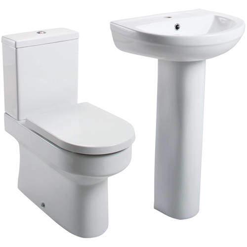 Oxford Montego Bathroom Suite, Flush Toilet, Seat, Basin & Pedestal.