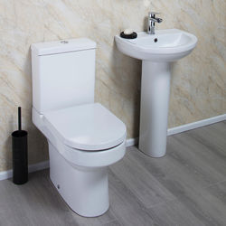 Oxford Montego Bathroom Suite, Comfort Toilet, Seat, Basin & Ped.