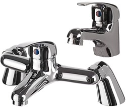 Hydra Ness Basin Mixer & Bath Filler Tap Set (Chrome).