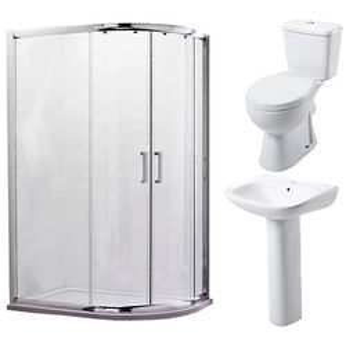 Oxford En Suite Bathroom Pack With Offset Enclosure 1200x900mm (RH, 6mm).