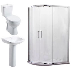 Oxford En Suite Bathroom Pack With Offset Enclosure 900x760mm (LH, 6mm).