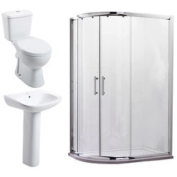 Oxford En Suite Bathroom Pack With 900x760mm Offset Enclosure (LH, 6mm).