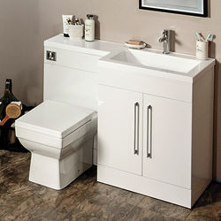 Italia Furniture L Shaped Vanity Pack With BTW Unit & Basin (RH, Gloss White).