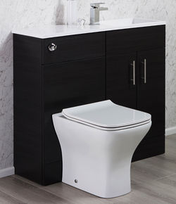 Italia Furniture Slimline Pack With Black Ash Vanity, BTW Unit & Basin (RH).