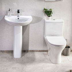 Oxford Spek Bathroom Suite With Toilet, Slimline Seat, Basin & Full Pedestal.