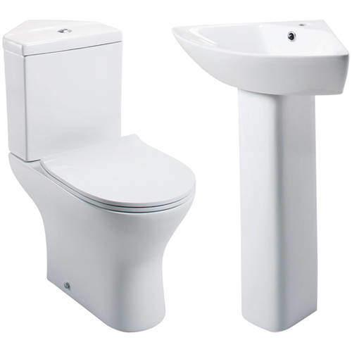 Oxford Spek Bathroom Suite, Corner Toilet, Seat, Corner Basin & Pedestal.