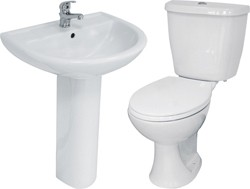 Hydra 4 Piece Bathroom Suite With Toilet & Basin (1 Tap Hole).