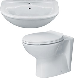 Hydra 2 Piece Bathroom Suite With Back To Wall Toilet & Semi Recess Basin.