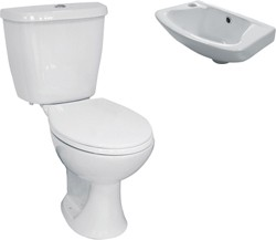 Hydra 3 Piece Bathroom Suite With Toilet & Small Basin.