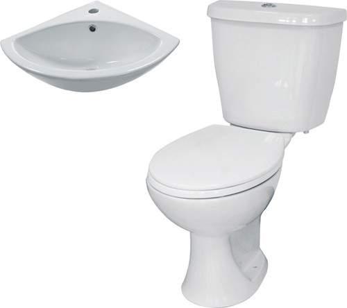 Hydra 3 Piece Bathroom Suite With Toilet & Corner Basin.