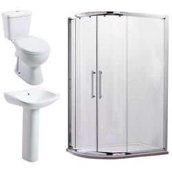 Oxford En Suite Bathroom Pack With 900x760mm Offset Enclosure (LH, 8mm).