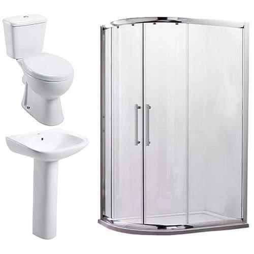 Oxford En Suite Bathroom Pack With 900x760mm Offset Enclosure (LH, 8mm).