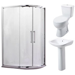 Oxford En Suite Bathroom Pack With 900x760mm Offset Enclosure (RH, 8mm).