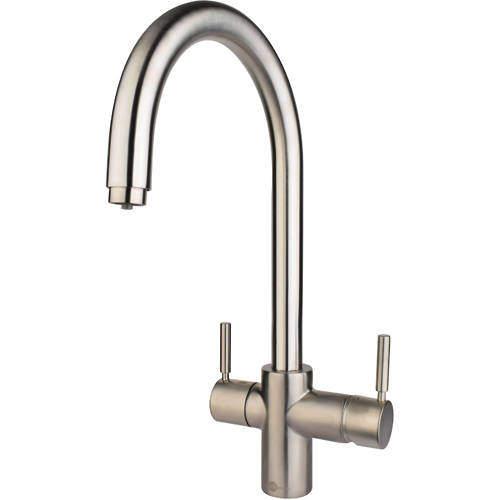 InSinkErator Hot Water 3N1 J Shape Steaming Hot Kitchen Tap (Brushed Steel).
