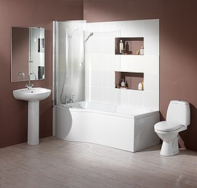 Hydra Complete Shower Bath Suite (Left Hand). 1500x750mm.