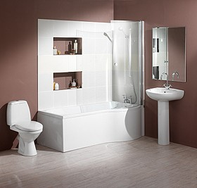 Hydra Complete Shower Bath Suite (Right Hand). 1500x750mm.