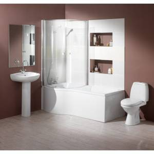 Hydra Complete Shower Bath Suite With 2 Screens. (Left Hand). 1700x750mm.