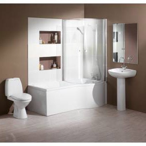 Hydra Complete Shower Bath Suite With 2 Screens. (Right Hand). 1700x750mm.