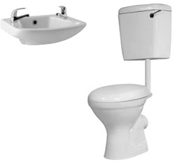 Hydra Alpha Low Level Suite With Toilet Pan. Cistern & 2 Hole Basin.