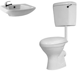 Hydra Alpha Low Level Suite With Toilet Pan. Cistern & 1 Hole Basin.