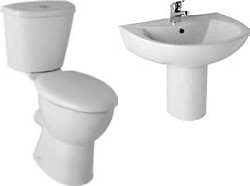 Hydra G2 Suite With Tall Toilet Pan. Cistern, Seat, Basin & Semi Pedestal.