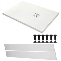 Slate Trays Rectangular Easy Plumb Shower Tray & Waste 1200x800 (White).