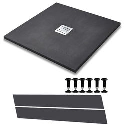 Slate Trays Easy Plumb Square Shower Tray & Waste 800x800 (Graphite).