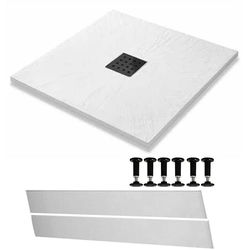 Slate Trays Easy Plumb Square Shower Tray & Waste 800x800 (White).