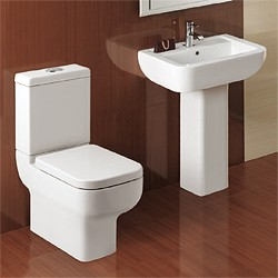 Hydra Modern Suite With Toilet Pan. Cistern, Seat, Basin & Pedestal.