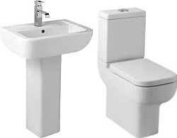 Hydra Modern Suite With High Toilet Pan. Cistern, Seat, Basin & Pedestal.