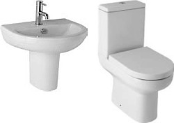 Hydra Revive Suite With Toilet Pan. Cistern, Seat, Basin & Semi Pedestal.